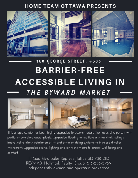 This unique condo has been highly upgraded to accommodate the needs of a person with partial or complete quadriplegia while retaining the splendor associated with this well-appointed building.